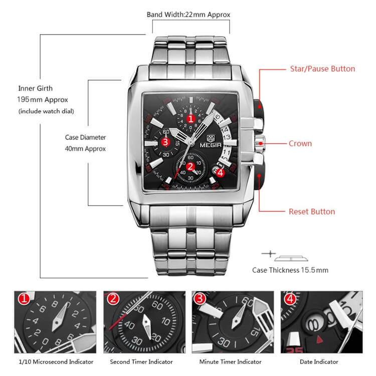 Stainless Steel Chronograph Watch 4