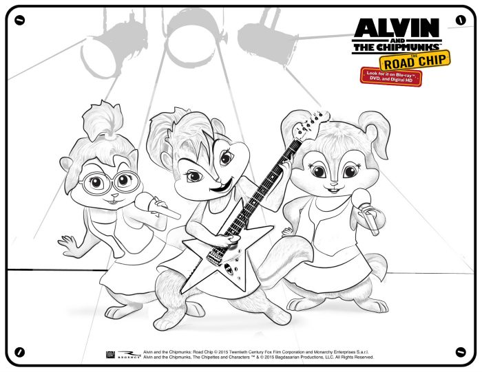 alvin and the chipmunks free chipettes printable coloring