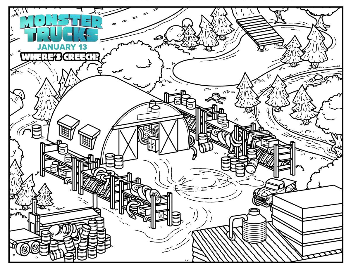 Monster Trucks Where S Creech Coloring Page