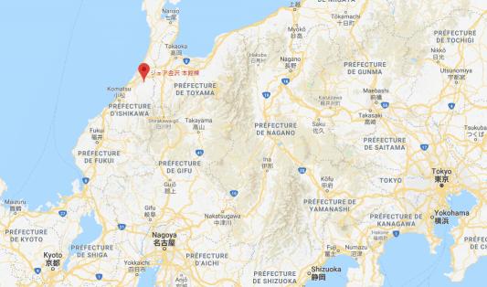 share kanazawa sur la carte du Japon