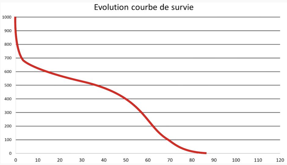 Courbe de survie de l'année 1806. Analyse complémentaire à l'espérance de vie.