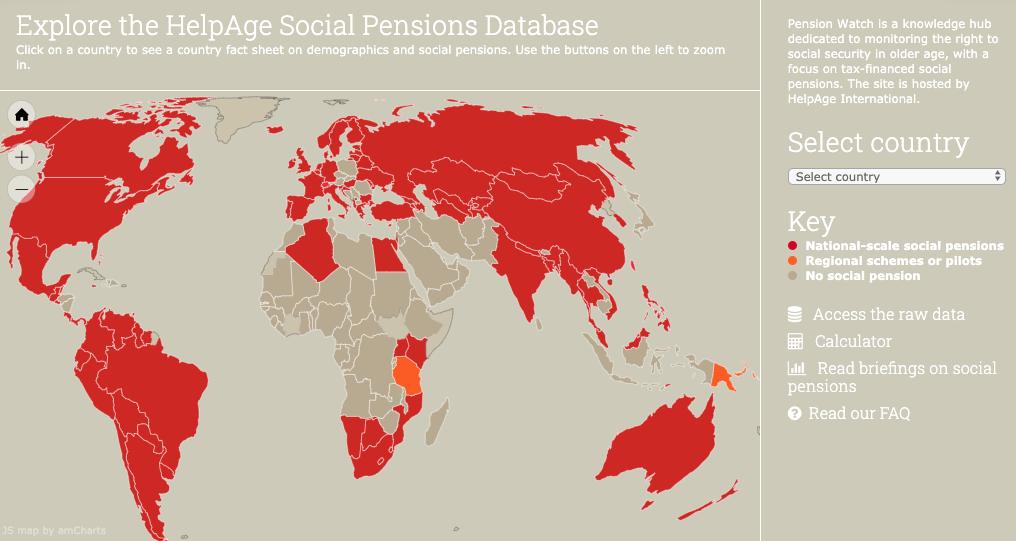 Carte des pays qui disposent d'un système de retraite à financement public. Pension watch, HelpAge International
