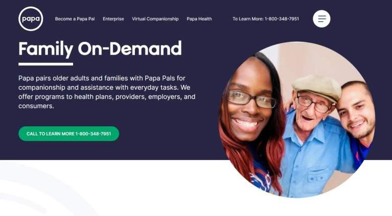 la home page de papa, family on demand