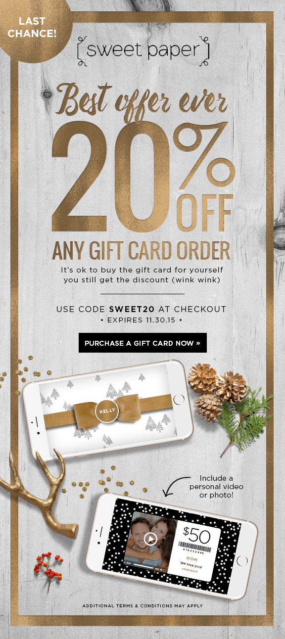 20% Off Sweet Paper Gift Cards!