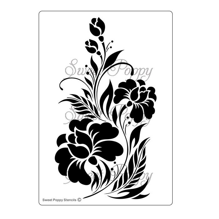 Sweet Poppy Stencil: Black Orchid