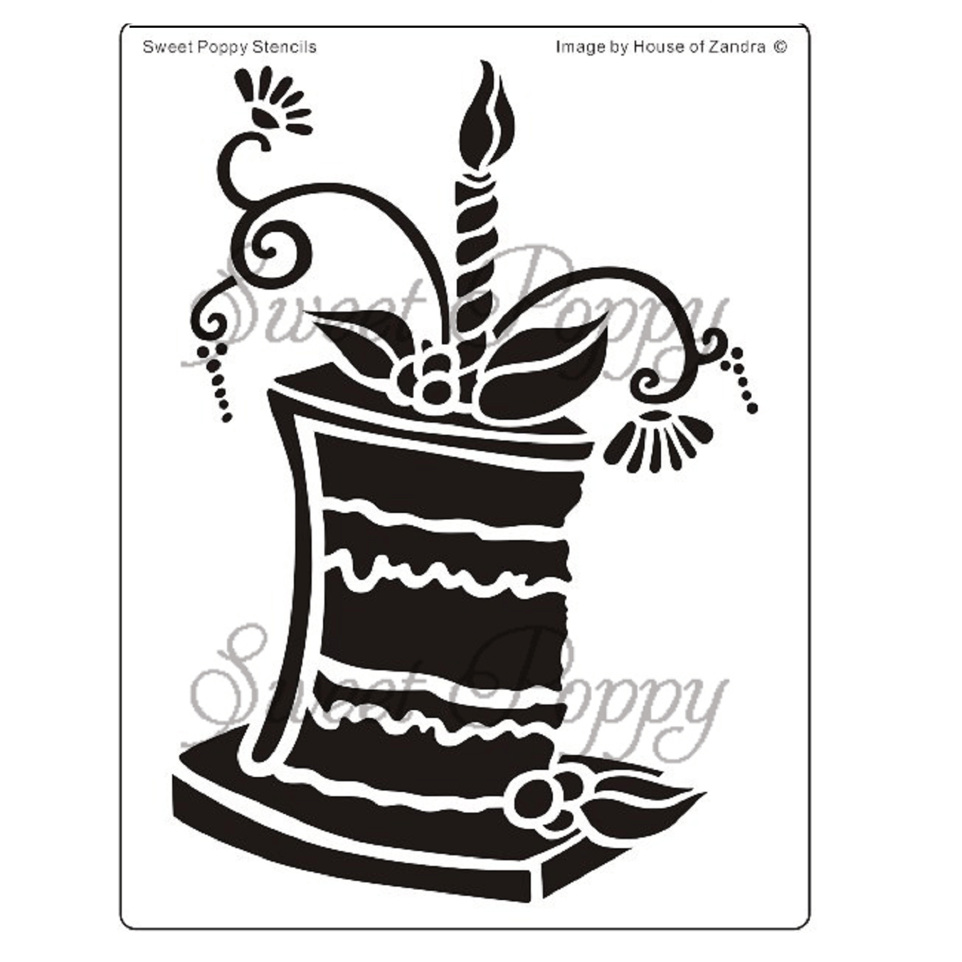 Sweet Poppy Stencil: Cake 2 – Slice