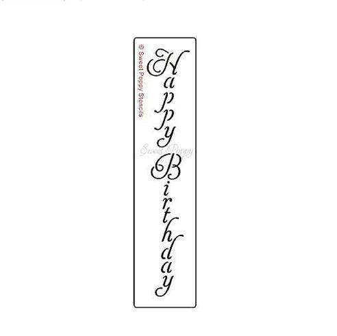 Sweet Poppy Stencil: Happy Birthday Vertical