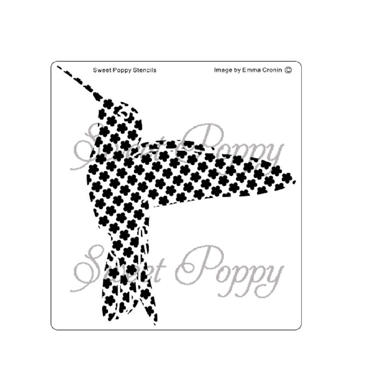 Sweet Poppy Stencil: Humming Bird Flower