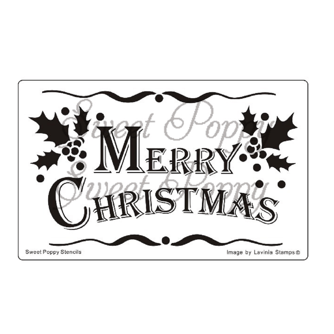 Sweet Poppy Stencil: Merry Christmas Banner