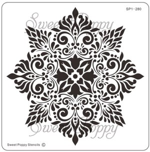 Sweet Poppy Stencil: Damask Flower
