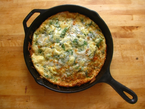 Savory Cheesy Spinach and Basil Dutch Baby
