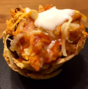 Chicken Enchilada Tortilla Cups