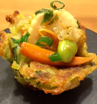 Seafood Blend With Green Curry Scallion Pancake Cups