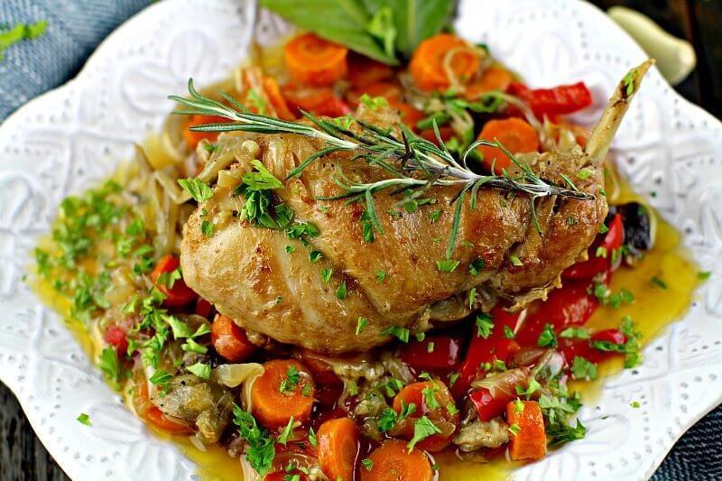 rabbit and vegetable bake