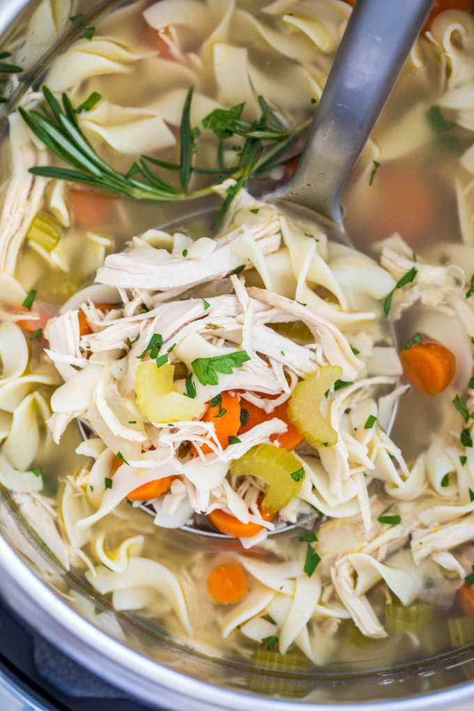Instant Pot Chicken Noodle Soup from Scratch