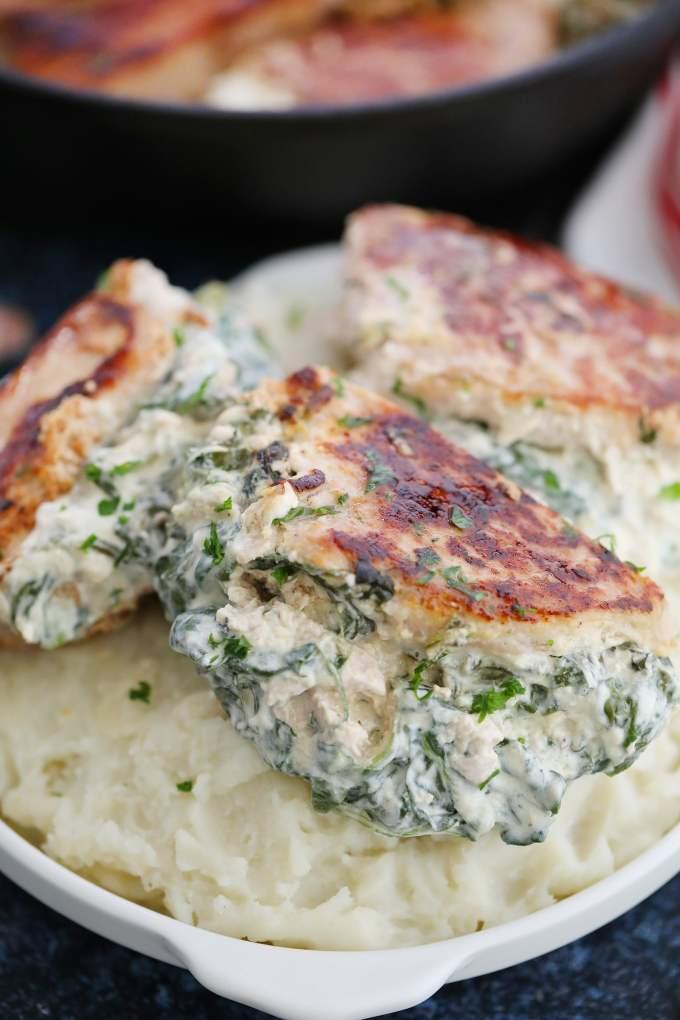 Spinach Dip Stuffed Pork Chops Recipe