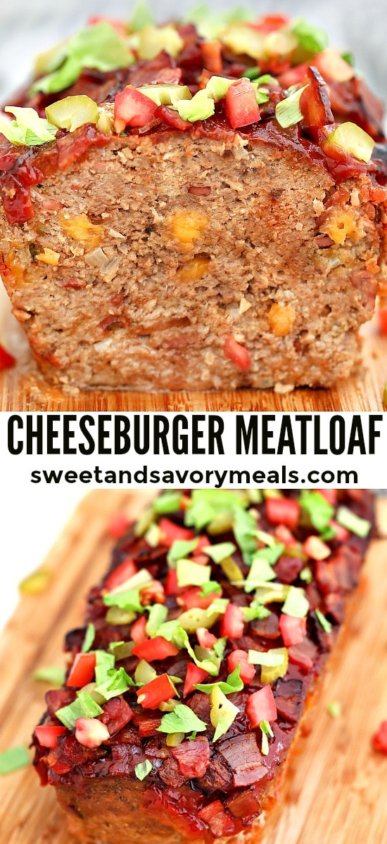 Bacon Cheeseburger Meatloaf is moist, flavorful, and cheesy! The flavors in this dish reinvent the classic cheeseburger and make it perfect for a quick homemade dinner. #meatloaf #bacon #cheeseburger #beefrecipes #sweetandsavorymeals