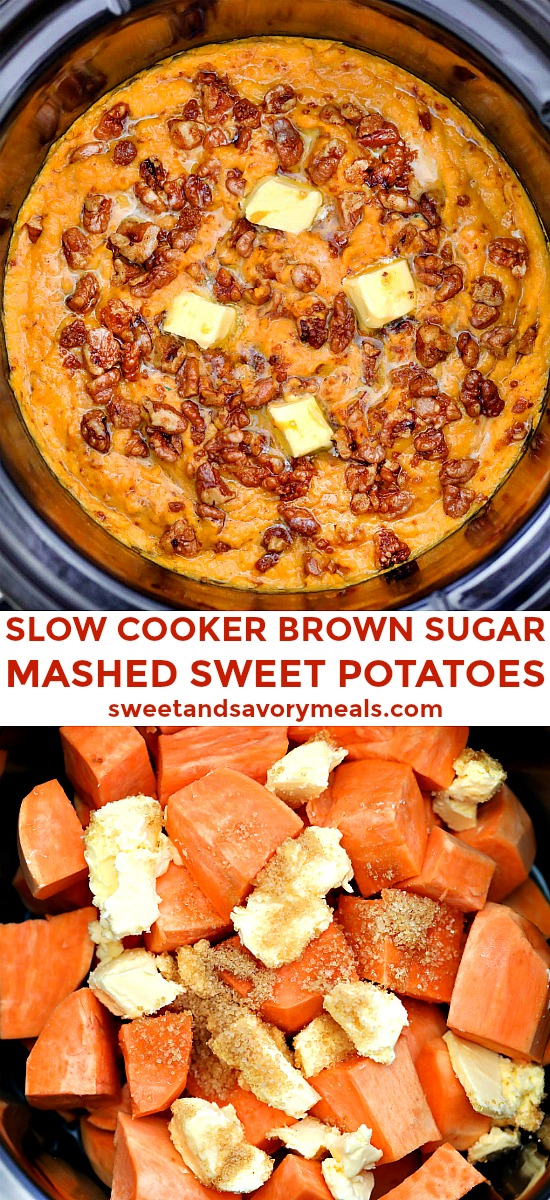 Slow Cooker Mashed Sweet Potatoes is the perfect buttery side dish for all your savory entrees! #slowcooker #crockpot #sweetandsavorymeals #sweetpotatoes #thanksgiving