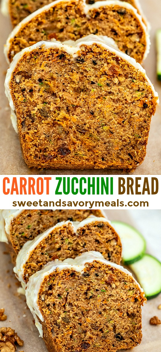 Carrot Zucchini Bread is moist, dense, and highly nutritious! If you are trying to introduce veggies to kids, then, serving this is a subtle way to do it! #zucchini #zucchinibread #bread #sweetandsavorymeals #carrotzucchinibread