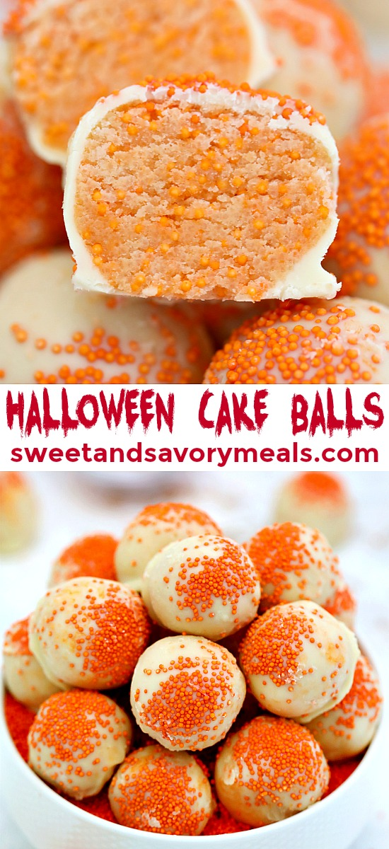 Halloween Cake Balls are a no-bake dessert that is fun and festive! Decorate them any way you like and surely, kids and adults alike will love them! #halloween #cakeballs #nobake #sweetandsavorymeals #fallrecipes