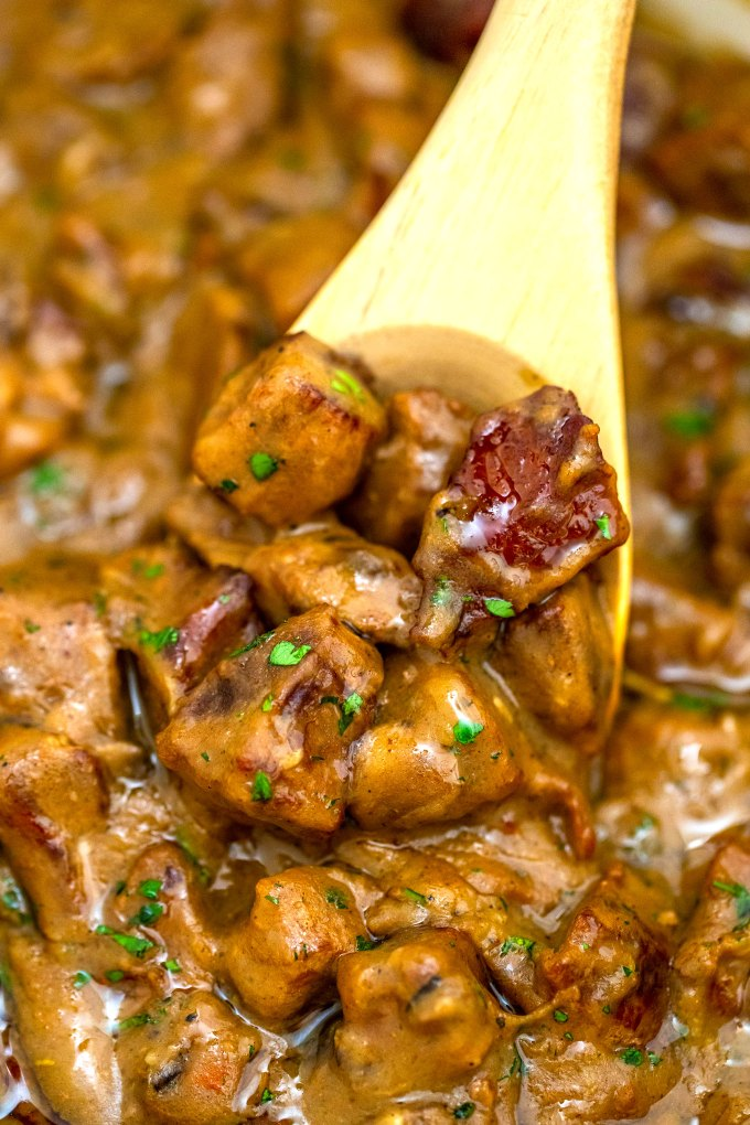 Beef Tips and Gravy is easily prepared on the stove with only a few basic ingredients but the result is tender meat in a thick savory sauce that everyone loves! #beeftipsandgravy #beefrecipes #beef #dinnerideas #sweetandsavorymeals