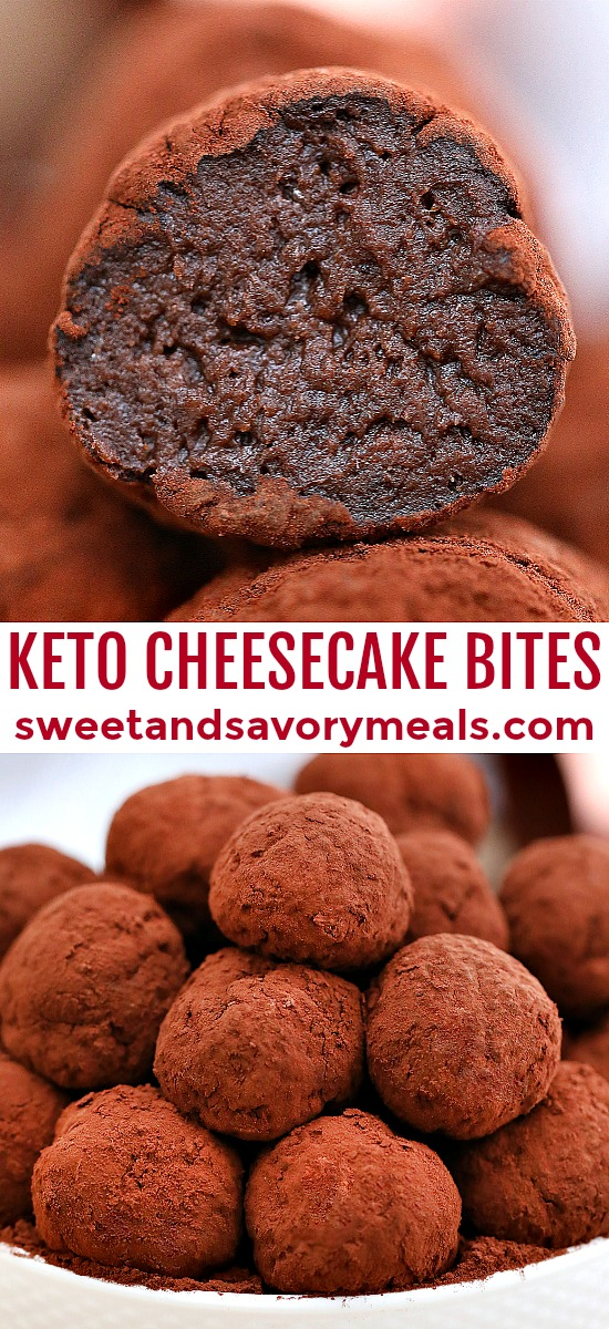 Keto Chocolate Cheesecake Bites are sweet mini desserts that are low carb, chocolaty and decadent! Enjoy this dessert guilt-free with this easy no-bake recipe! #keto #ketodesserts #cheesecake #sweetandsavorymeals #nobake