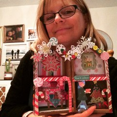 Easy crafting idea. Paper gingerbread house made from scrap-book paper and a wooden craft house shaped frame.