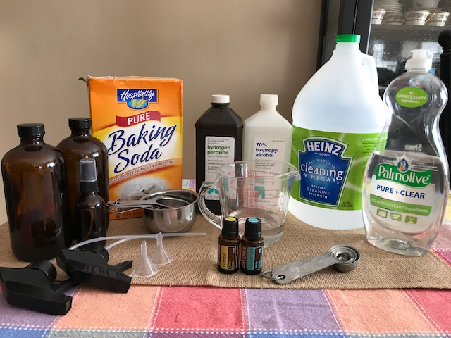 Baking soda, hydrogen peroxide, rubbing alcohol, vinegar, dish soap, salt, castile soap, essential oils. Make cleaning products that work and are environmentally friendly! SweetandSpicyessentials.com