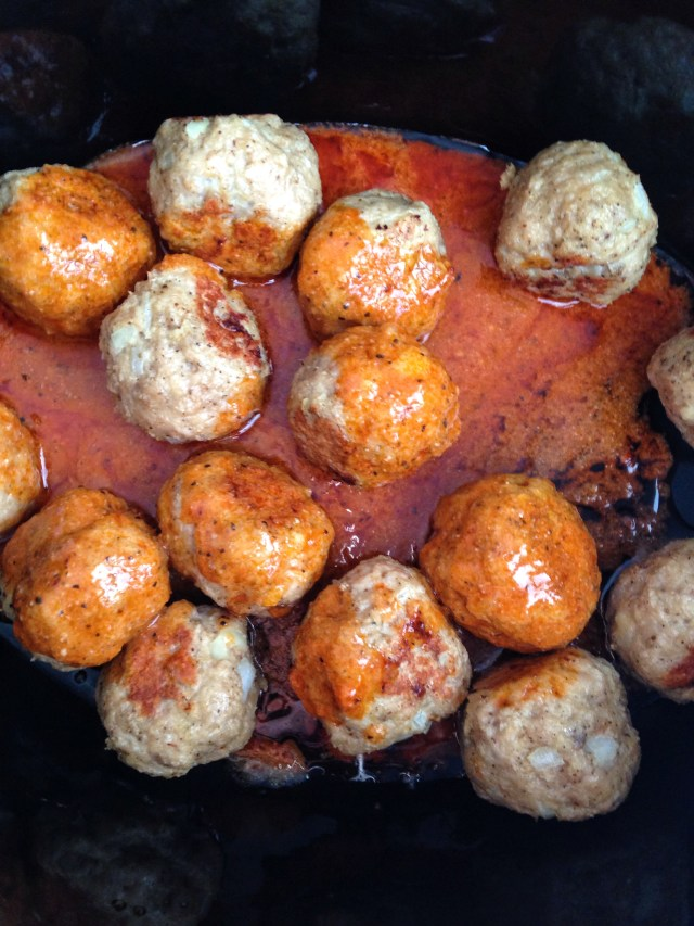 Slow Cooker Buffalo Chicken Meatballs with homemade buffalo wing sauce