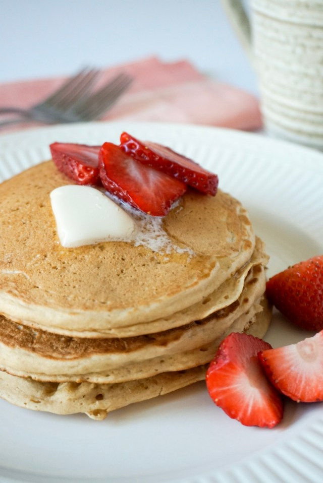 Better For You Pancakes made with simply pure vanilla coffee creamer and other healthy ingredient swaps