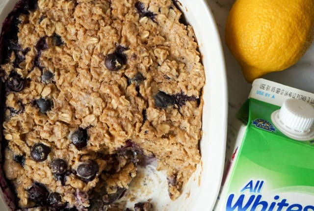 Make Ahead Blueberry Lemon Oatmeal Bake with All Whites 100% Liquid Egg Whites