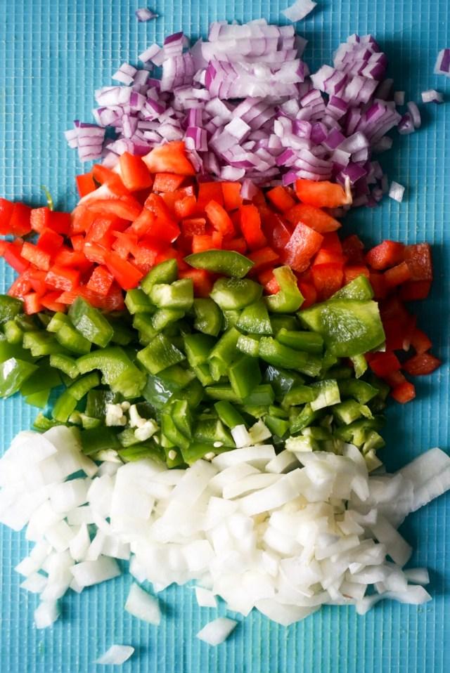 Diced Veggies for Taco Bowls