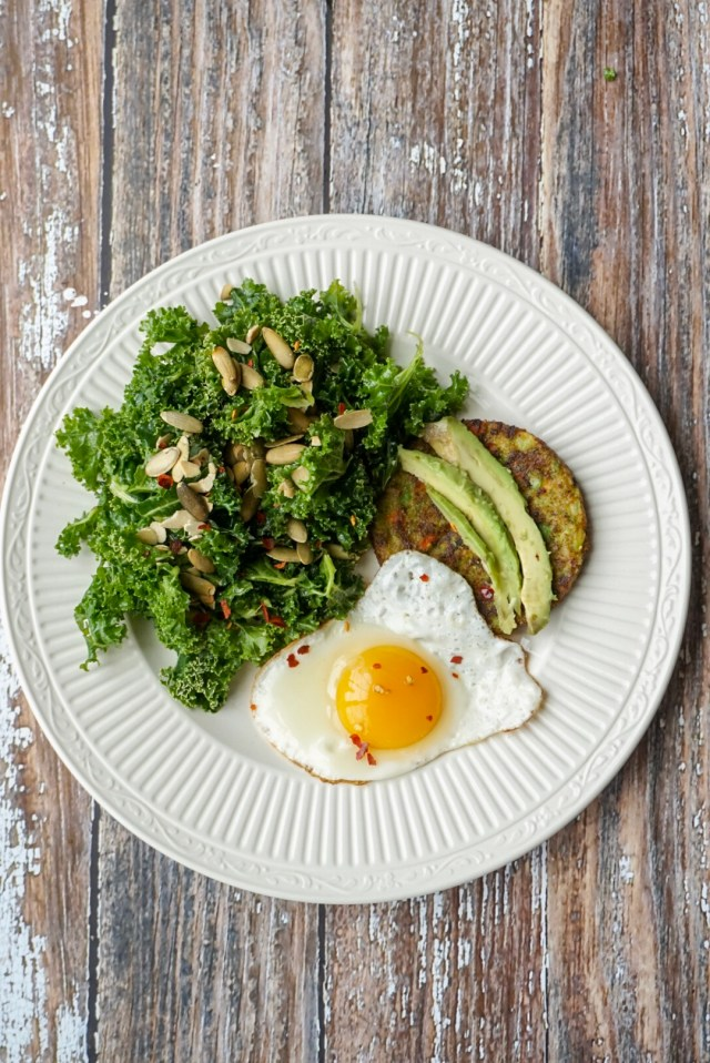 Lunch with Massaged Kale Salad with lemon, olive oil, and sea salt