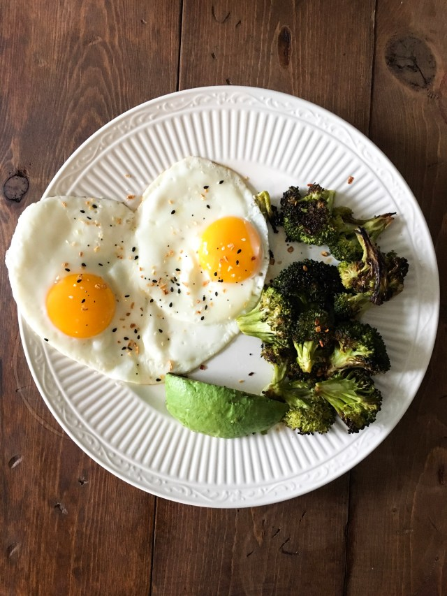 What I Ate Wednesday plate eggs and veggies