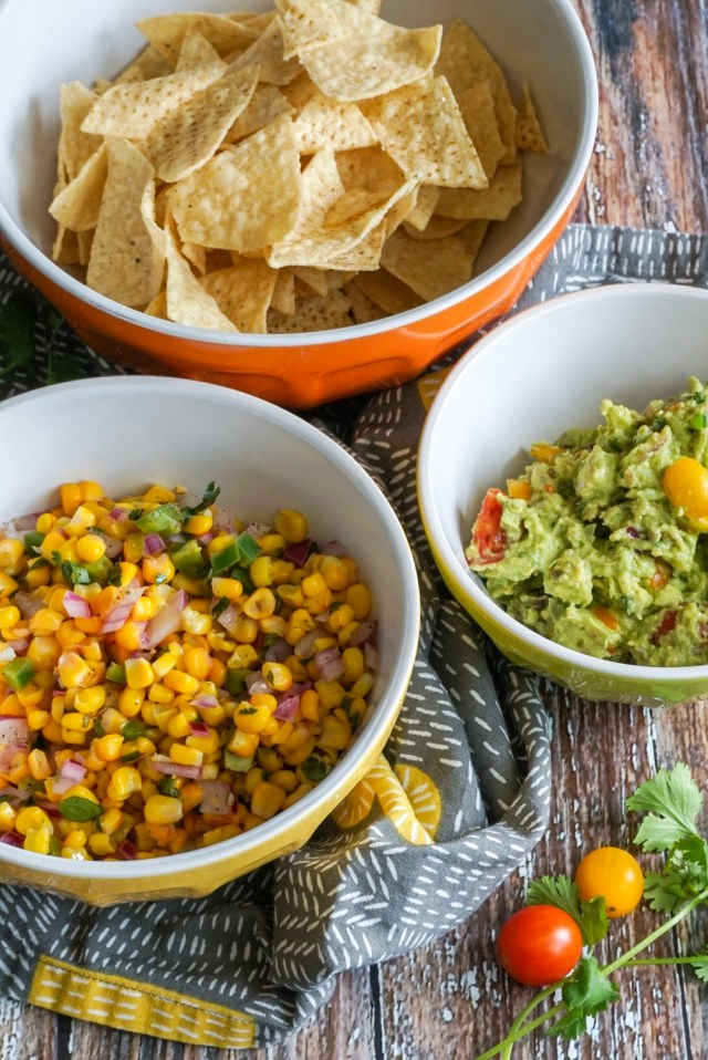 Chips and homemade guac and corn salsa