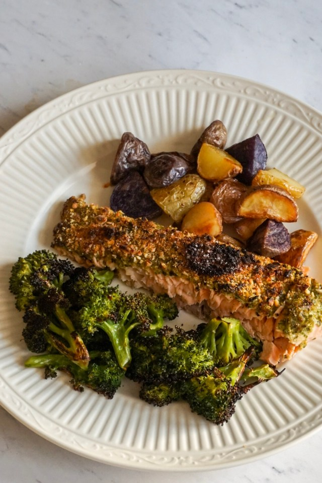 Salmon and roasted vegetables