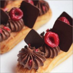 Raspberry and Chocolate Eclairs