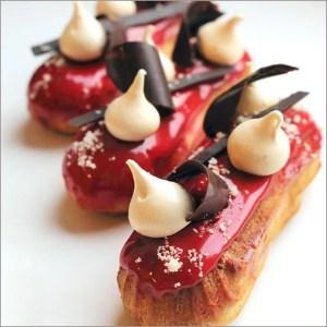 Raspberry Eclairs with Meringue and Crisp Chocolate