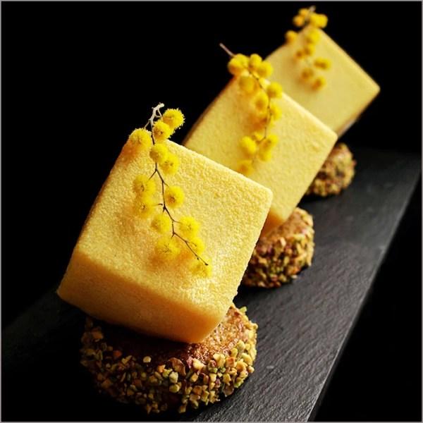 Mango & Orange Mousse Dessert with Vanilla Cream on Pistachio Financier Recipe - Spring Mimosa