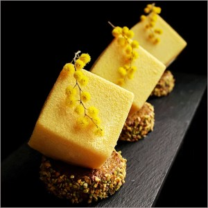 Mango & Orange Mousse Dessert with Vanilla Cream on Pistachio Financier Recipe - Spring Mimosa