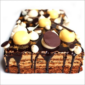 Hazelnut, Coffee and Dark Chocolate Sheet Cake with Orange Crémeux
