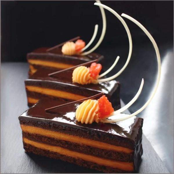 Orange Curd, Saffron Mascarpone Mousse, Dark Chocolate Ganache and Chocolate Brownie Sheet Cake ~ Orange Chocolate Opera