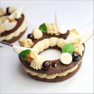 Chocolate Choux Pastry with Hazelnut Whipped Ganache, Apple Compote, Chocolate Sable and Hazelnut Sponge ~ Paris Brest Grunge