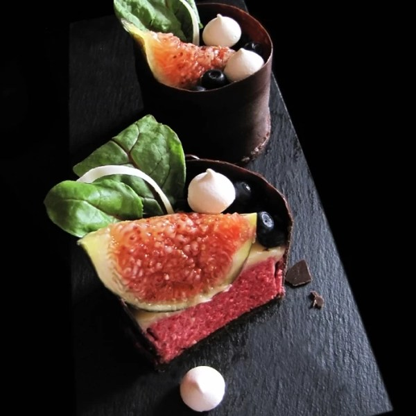 Beetroot Fig Mousse, Beetroot Chocolate Brownie and Orange Crémeux with Meringues Desserts