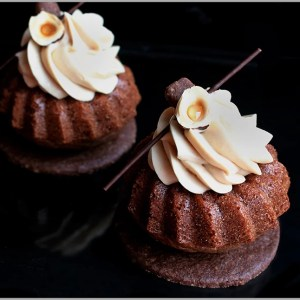 Chocolate Cupcakes with Coffee and Hazelnut Whipped Ganache on Chocolate Sable