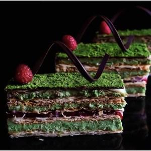 Pistachio Bavarois Cream and Raspberry Pâte de Fruit with Chocolate and Crispy Puff Pastry ~ Pistachio Mille-Feuille
