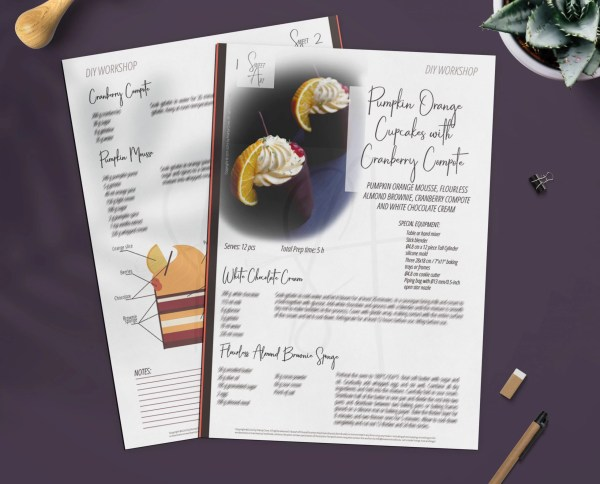 Pumpkin Mousse, Cranberry Compote and Flourless Almond Brownie Modern Cupcakes Recipe