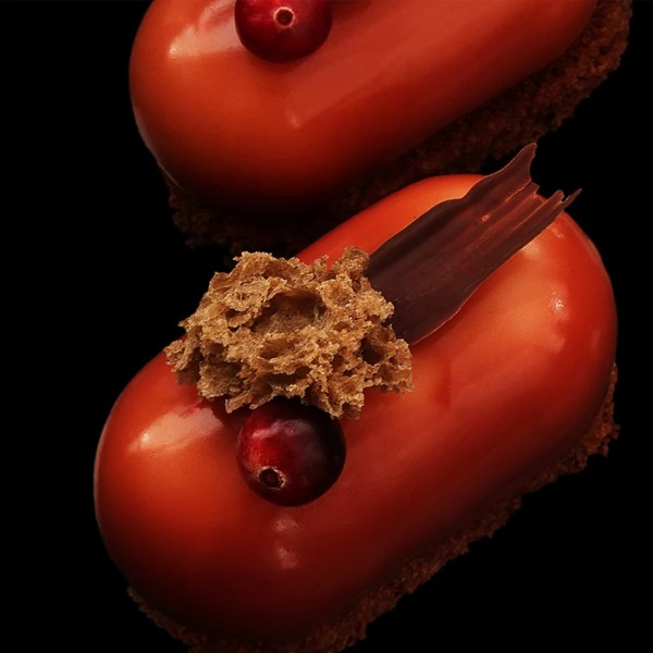 Cranberry and Chocolate Mousse with Sea Buckthorn Crémeux on Chocolate Brownie ~ Irony Dessert