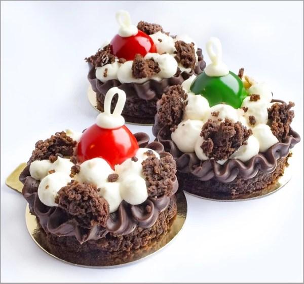 Orange Crémeux Christmas Baubles on Chocolate Ganache, White Chocolate Cream on Flourless Prune Brownie ~ Snowdrift Dessert