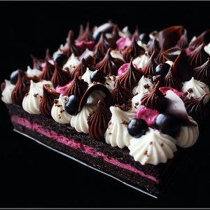 Black Currant Mousse with White Chocolate Cream and Dark Chocolate Ganache on Chocolate Financier Base ~ Black Currant and Chocolate Sheet Cake